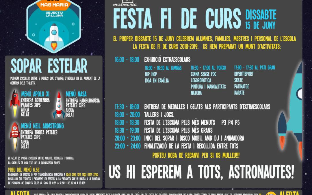 ATENCIÓ ! ampliació dia 7 de juny venda tiquets festa fi de curs